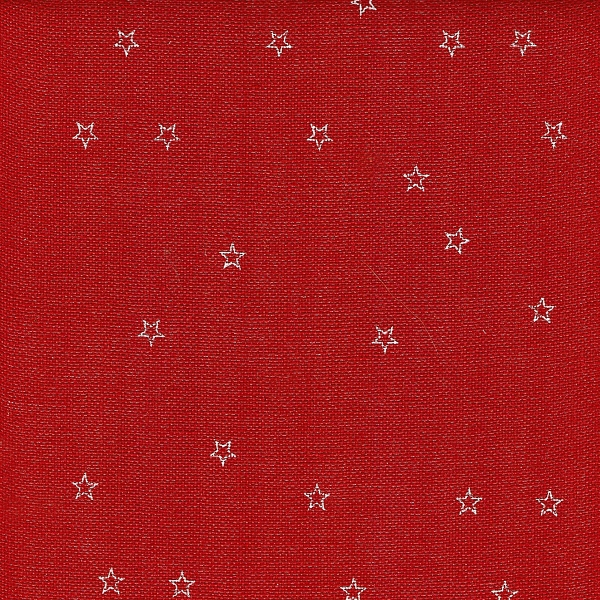 Leinenband rot bedruckt mit weissen Sternen