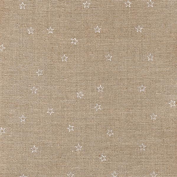 Leinenband natur, bedruckt mit weißen Sternen