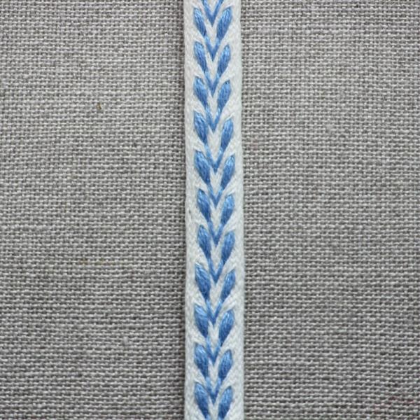 Leinenborte weiß-hellblau
