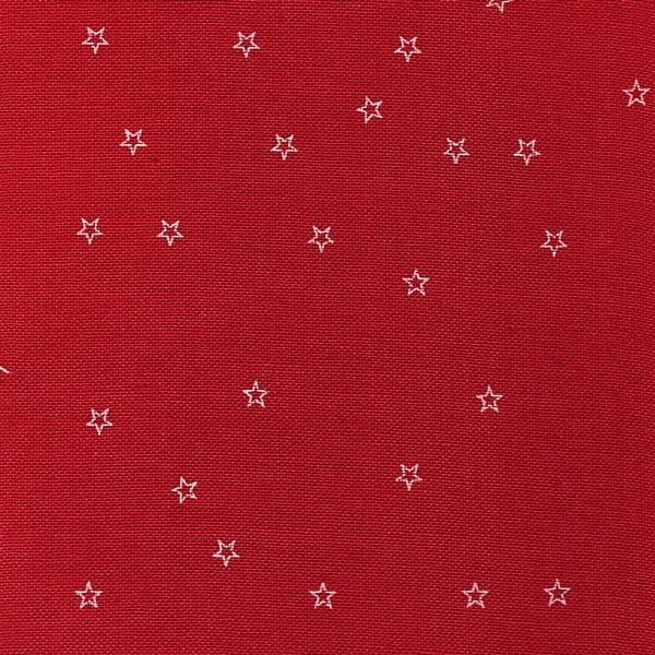 Leinenband rot mit aufgedruckten weissen Sternen, 20 cm breit