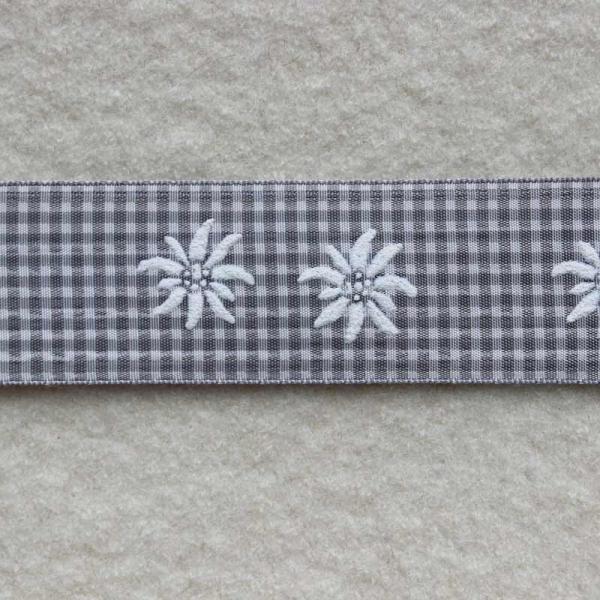Deko-Druckband Edelweiß grau