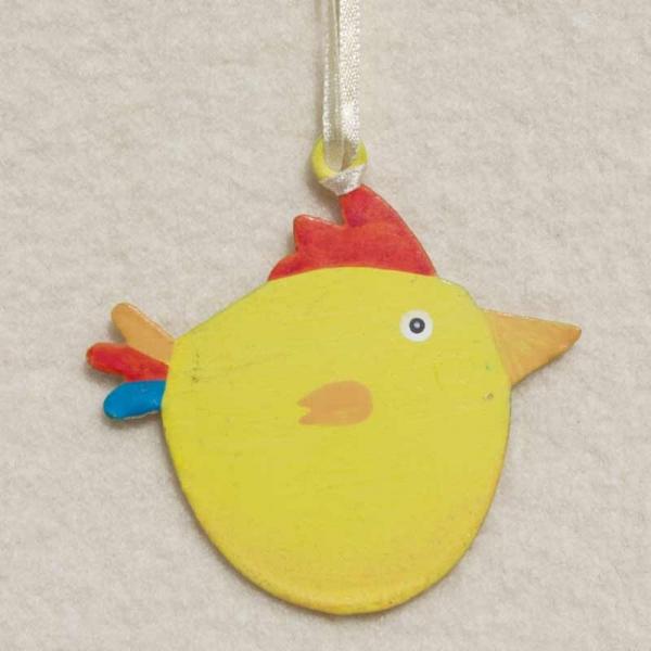 Vogelanhänger Metall gelb