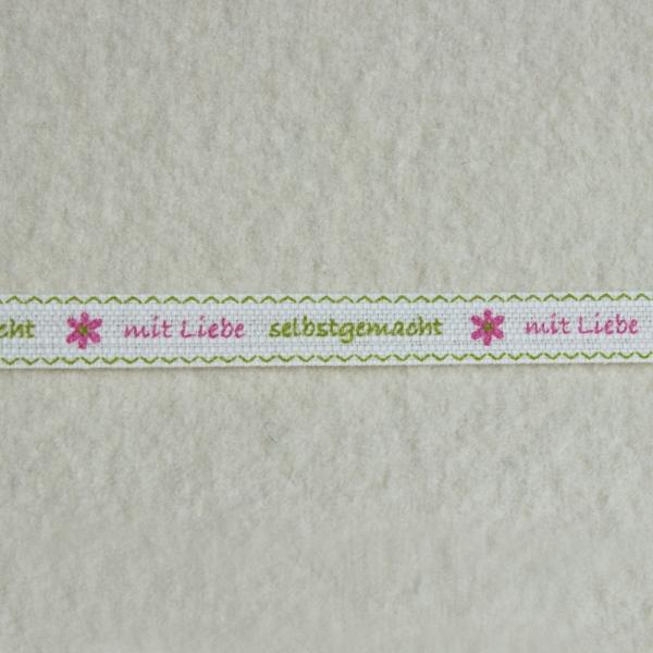 Deko-Druckband Selbstgemacht grün-rosa