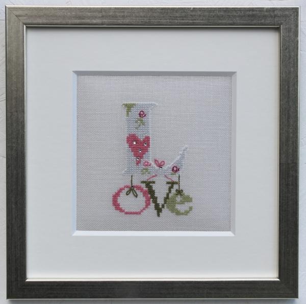 Rahmen und Passepartout für Motiv 'Love' bunt