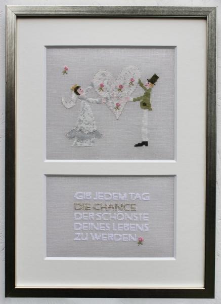 Bilderrahmen und Passepartout für Stickmotiv 'Brautpaar'