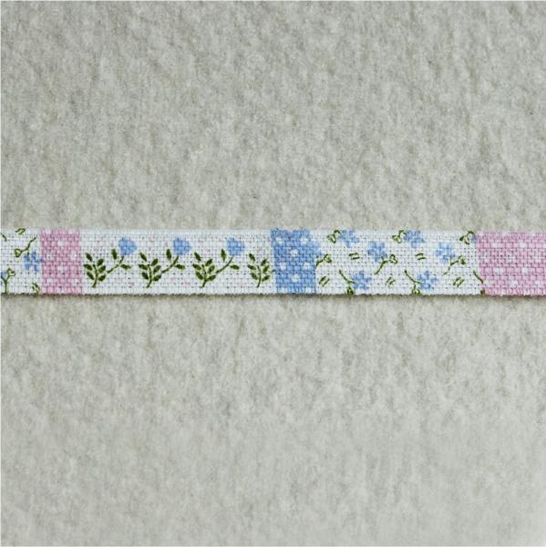 Deko-Druckband Blümchenkaro rosa-blau