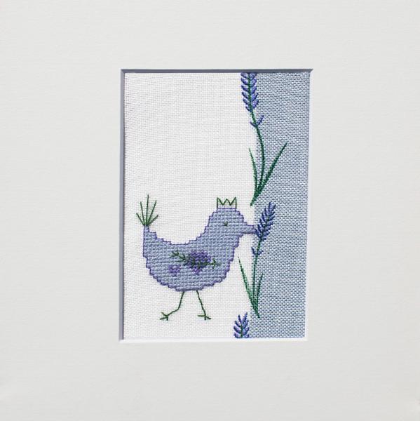 Stickpackung Blauer Vogel mit Lavendel