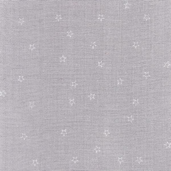 Leinenband silbergrau mit aufgedruckten weissen Sternen, 20 cm breit