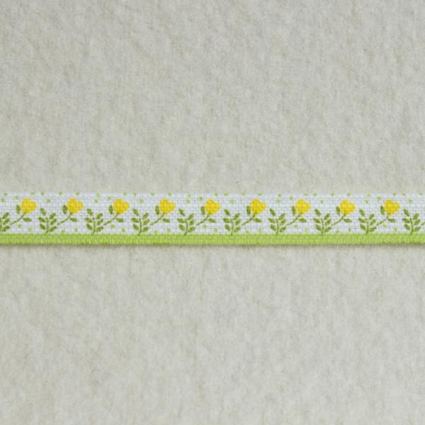 Deko-Druckband Blümchenborde gelb-grün