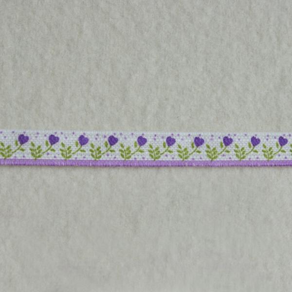 Deko-Druckband Blümchenborde lila-grün