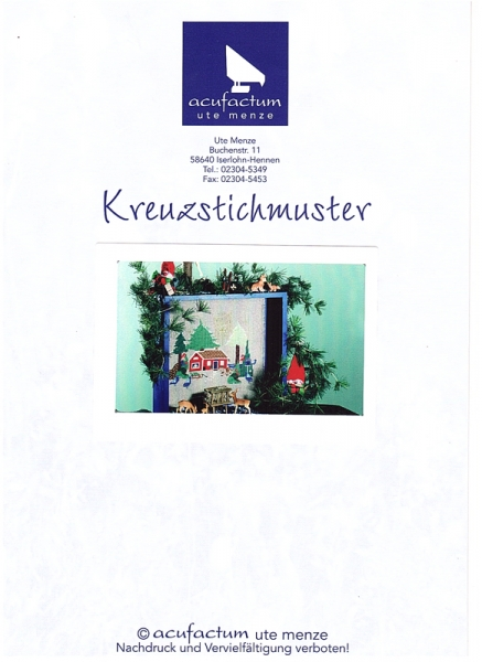 Einzelmuster 'Schwedenhaus im Winterwald'