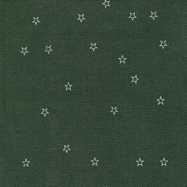 Leinenband dkl.grün auf aufgedruckten weissen Sternen, 20 cm breit