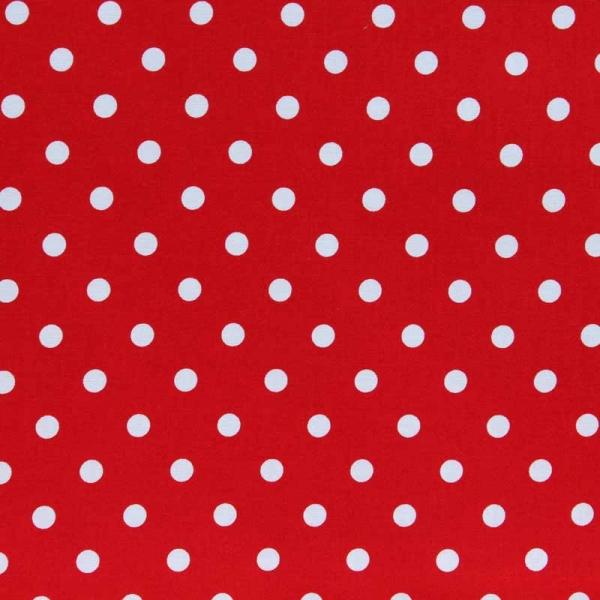 Druckstoff Tupfen rot weiß