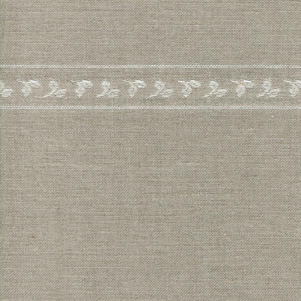 Leinenband mit eingewebter Blätterborde, natur, 285 cm breit