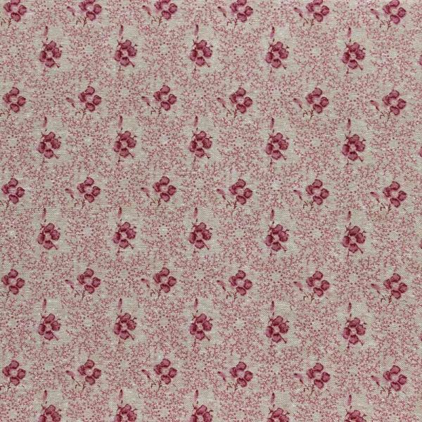 Baumwollstoff Blumenkaro natur-pink