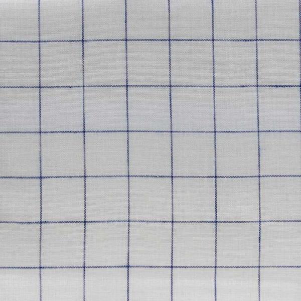 Leinenbreitware Streifenkaro gebleicht dunkelblau