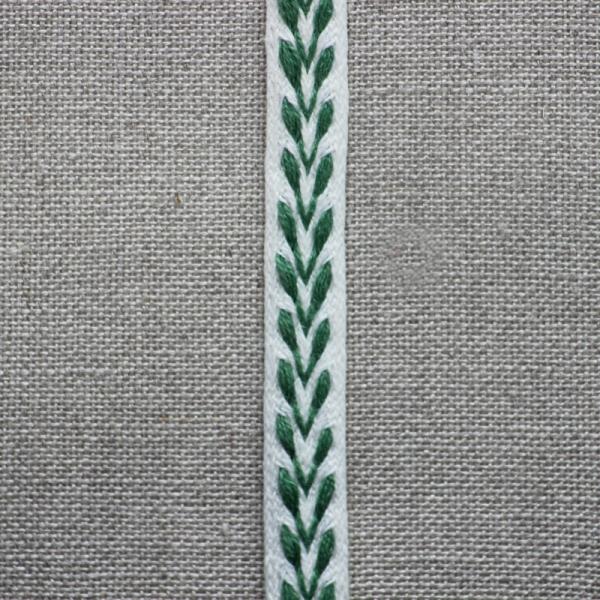 Leinenborte weiß-grün
