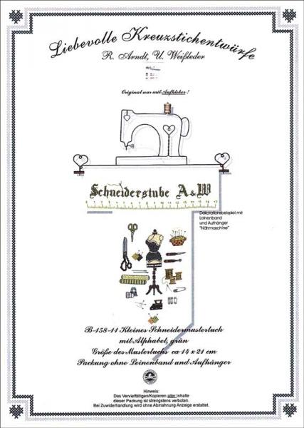 Kreuzstichanleitung mit Garn KLEINES SCHNEIDERMUSTERTUCH grün von Arndt Weißleder