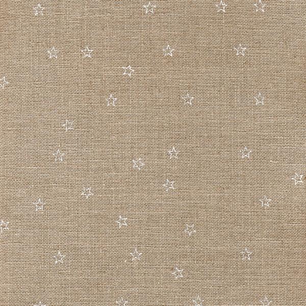 150 cm Leinenband natur bedruckt mit weissen Sternen, 10 cm breit