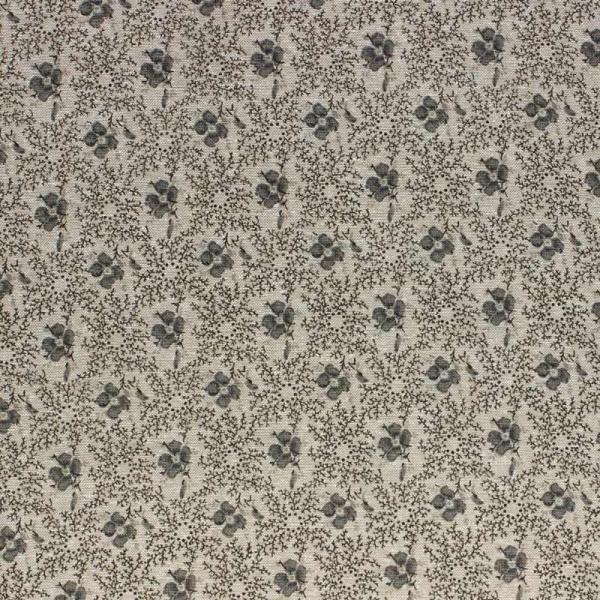 Baumwollstoff Blumenkaro natur-grau