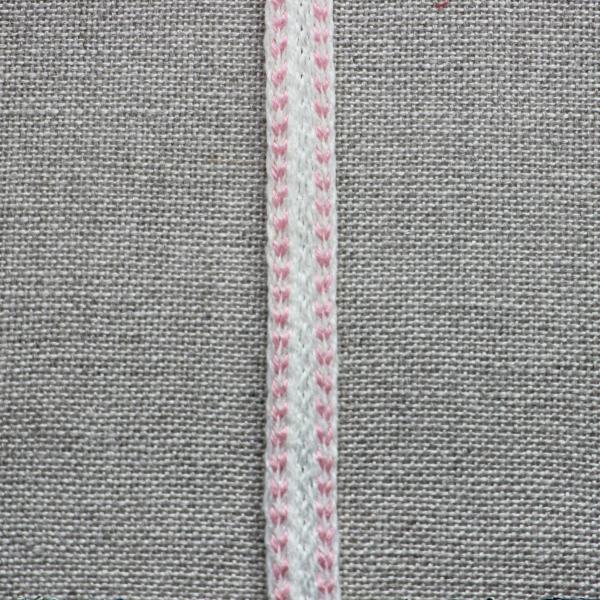 Leinenborte weiß-rosa