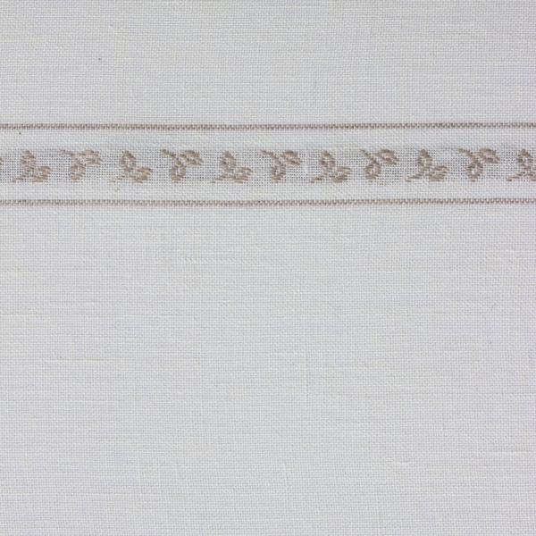Leinenband mit eingewebter Blätterborde, 285 cm breit, gebleicht